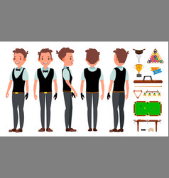 Snooker player male billiard sport theme vector