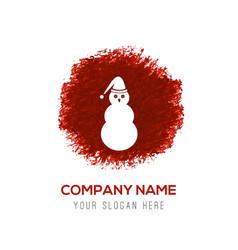 Snowman icon - red watercolor circle splash vector