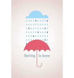 Spring time Retro card with cloud and umbrella vector