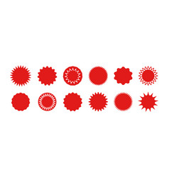 Star stickers badges burst red circles vector