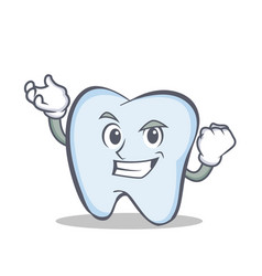 successful tooth character cartoon style vector image