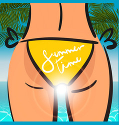 Summer Time card sexy woman yellow bikini vector image
