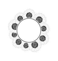 sunflower banner wreath outline vector image