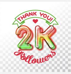 Thank you 2k followers vector