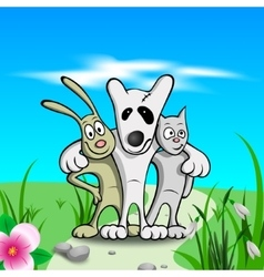 three friends on grass vector image