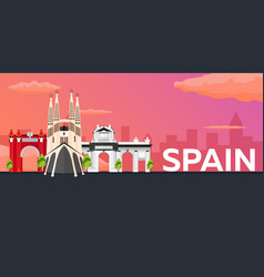 travel banner to spain flat vector image