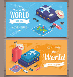 Travel banners in isometric style travel and vector