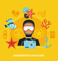 underwater shooting composition vector image