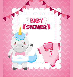 unicorn clothes toy bashower card vector image