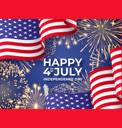 Usa independence day banner with waving american vector