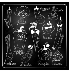 vegetable cartoon on chalkboard background vector image