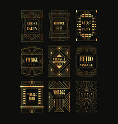 Vintage collection of golden art deco frames vector