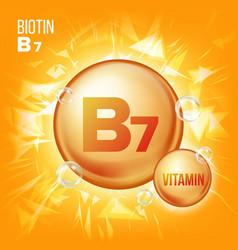 Vitamin b7 biotin vitamin gold oil pill vector