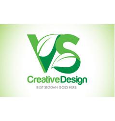 vs green leaf letter design logo eco bio leaf vector image