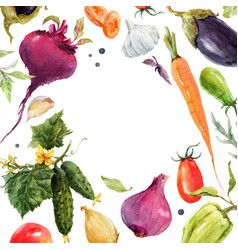 watercolor vegetable frame vector image