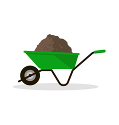 Wheelbarrow with organic fertilizer vector