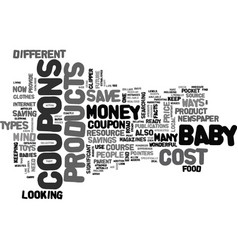 Where to find cost off coupons for baby products vector