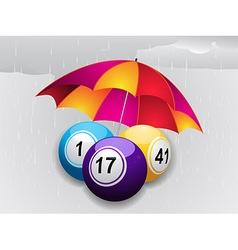 Winter bingo balls under umbrella vector