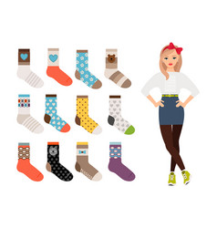 woman warm and casual socks collection vector image