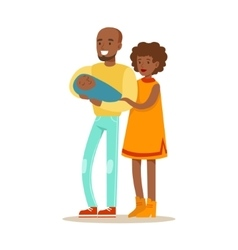 Young Parents Holding Baby Happy Family Having vector