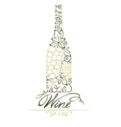 Abstract floral white wine bottle vector