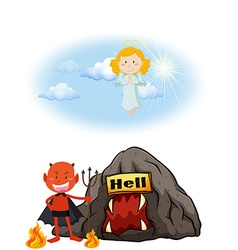 Angel in heaven and devil in hell vector image vector image