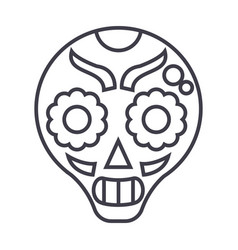 catrina line icon sign on vector image