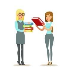 Female colleagues sharing the paperwork part of vector
