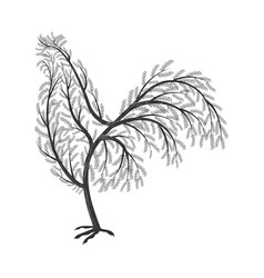 new year symbol stylized branches cock for use vector image vector image
