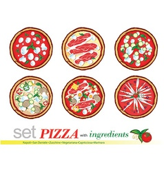 pizza cartoon set vector image