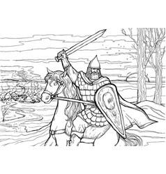 slavic warrior on horseback preparing to attack vector image
