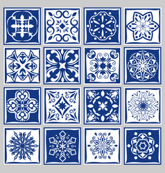 Tile patterns with flowers for bath or kitchen vector