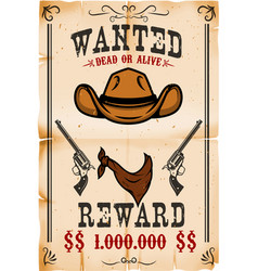 vintage wanted poster template with old paper vector image