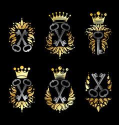 ancient keys emblems set heraldic coat of arms vector image vector image