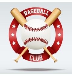 Baseball ball and wooden bats with ribbons vector image vector image