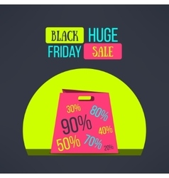 black friday sale background with bag vector image