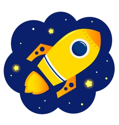 Cartoon stylized Rocket in space with stars vector image vector image