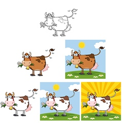 Cow With Flower in Mouth Collection vector image vector image