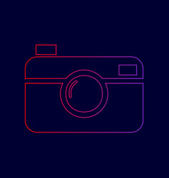 digital photo camera sign line icon with vector image