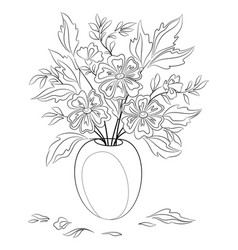 flowers in a vase contours vector image vector image