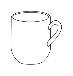 monochrome contour with mug of coffee close up vector image