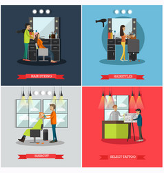 set of hairdressing salon and tattoo parlor vector image