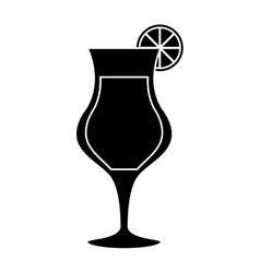 silhouette cocktail glass cup alcoholic beverage vector image vector image
