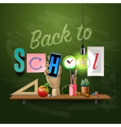 Back to school template with schools workspace vector image vector image