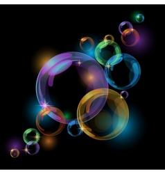 Black bubble background vector image