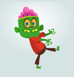 cartoon image of a funny green zombie vector image