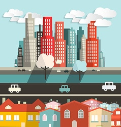 City - Houses with Highway and Skyscrapers vector image