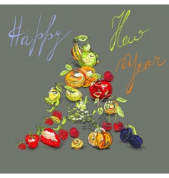 greeting card with fruit vector image vector image