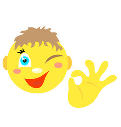 smiley boy with a gesture ok vector image
