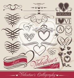 Valentines day calligraphic elements vector